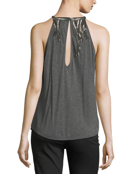 Hippie Trails Sleeveless Draped Top with Embellishments
