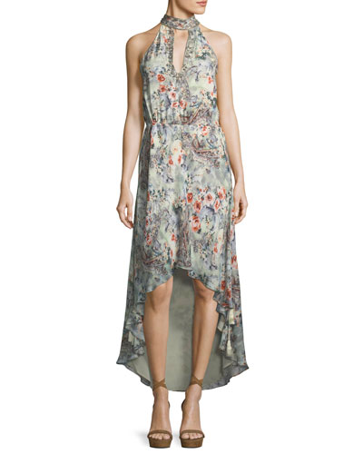 Wished Upon Sleeveless Floral-Print Draped Silk Dress