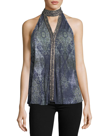 Haute Hippie In The Wild Sleeveless Printed Halter