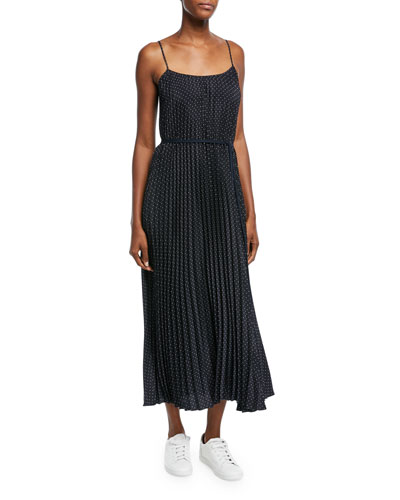 Polka-Dot Pleated Cami Dress
