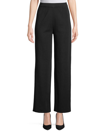 Wide-Leg Knit Pull-On Pants, Plus Size