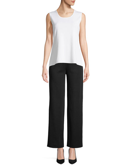 Wide-Leg Knit Pull-On Pants, Petite