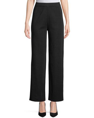 Wide-Leg Knit Pull-On Pants, Petite