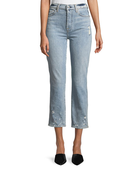 7 For All Mankind Edie Distressed Bleached Denim