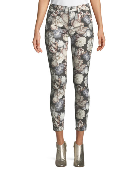 7 For All Mankind Floral-Print Skinny-Leg Ankle Jeans