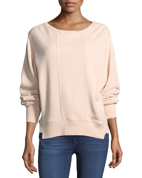 7 For All Mankind Crewneck Tucked Sleeve Cotton