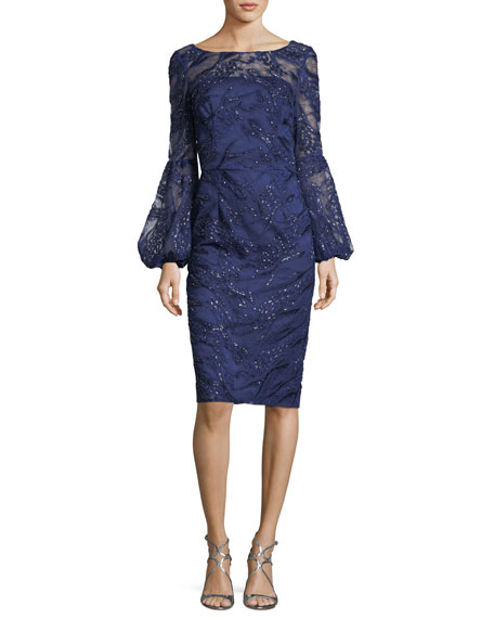 Sequin Lace Bell-Sleeve Dress