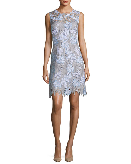 Elie Tahari Tallulah Floral-Applique Sleeveless Dress