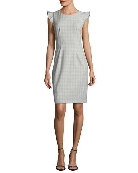 Elie Tahari Stefana Micro-Plaid Cap-Sleeve Dress