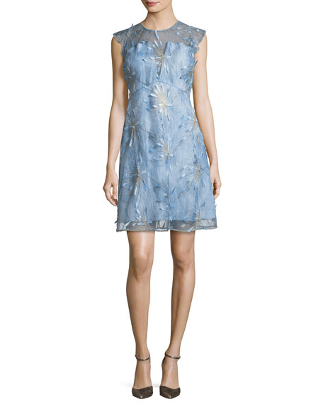 Elie Tahari Olive Floral-Applique Linen Dress