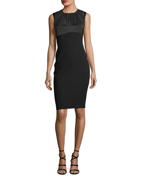 Elie Tahari Tutti Georgette-Yoke Sheath Dress