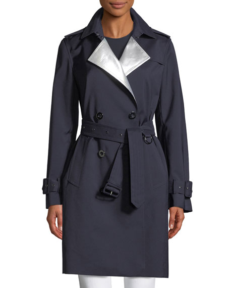 Elie Tahari Natania Contrast-Face Double-Breasted Coat