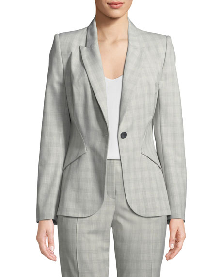 Elie Tahari Allegra Micro-Plaid One-Button Jacket