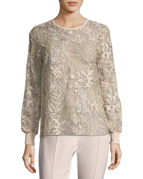 Elie Tahari Val Soft Bouquet-Embroidered Top