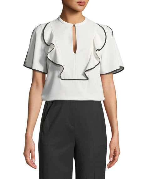 Murrelet Ruffle Short-Sleeve Blouse