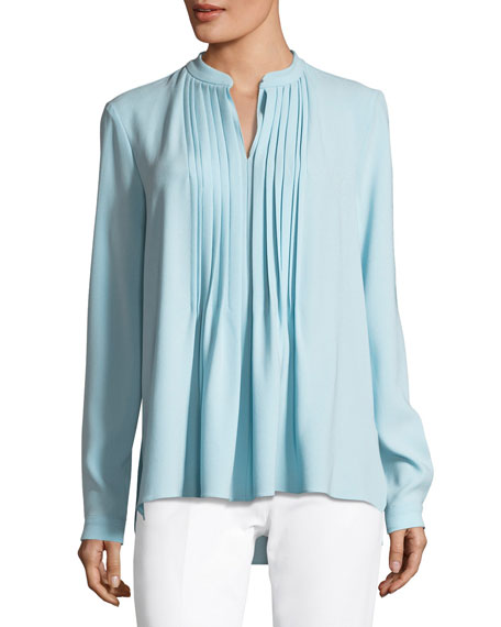 Elie Tahari Riri Pleated-Bib Blouse