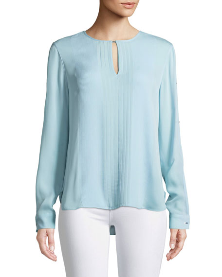 Jolene Pleated-Front Silk Blouse