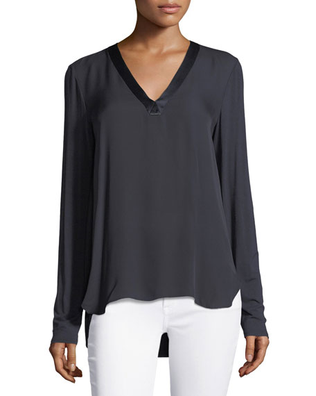 Elie Tahari Farah V-Neck Silk Blouse and Matching