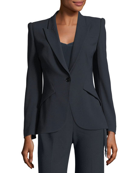 Allegra One-Button Fluid Crepe Jacket
