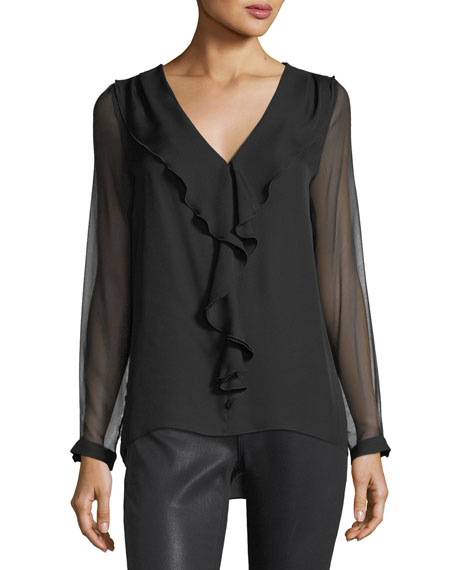 Laurie Ruffled-Trim Silk Blouse