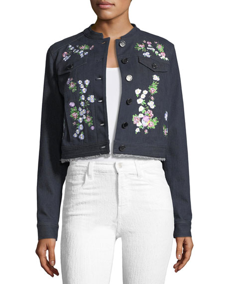 Elie Tahari Meggy Embroidered Denim Jacket