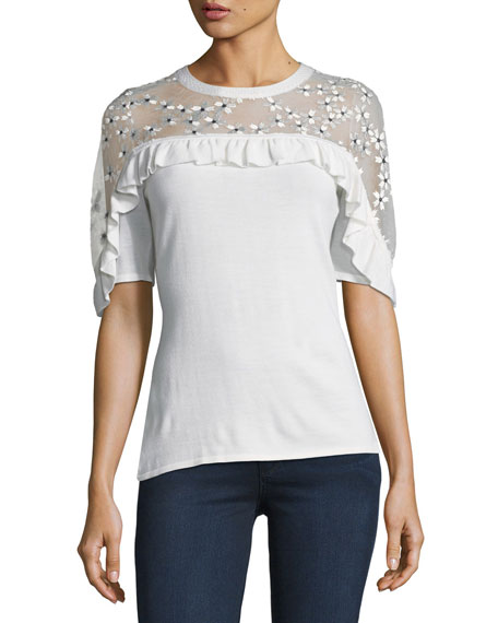 Elie Tahari Flora Illusion-Yoke Half-Sleeve Sweater