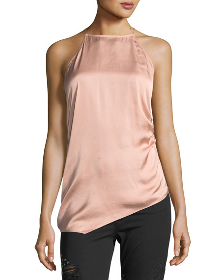 I Wished For You Halter Asymmetric Satin Top