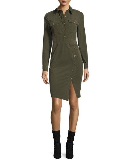 Britton Corduroy Button Shirtdress