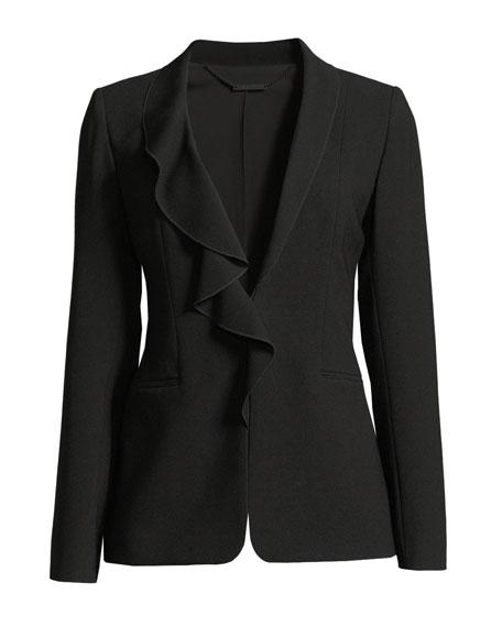 Siyah Ruffle-Collar Jacket