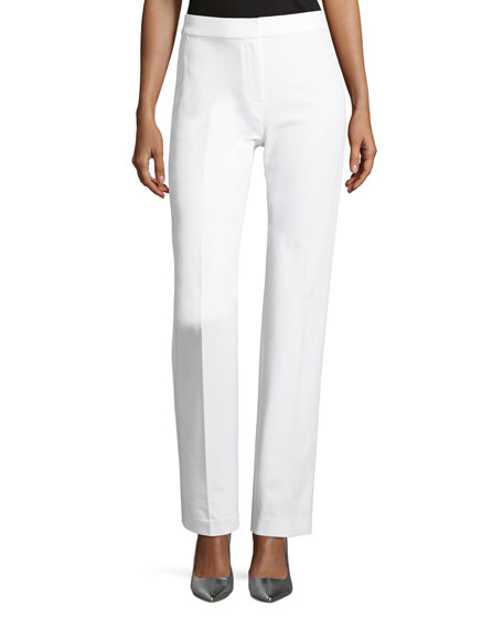 Leena Stretch-Cotton Straight-Leg Pants