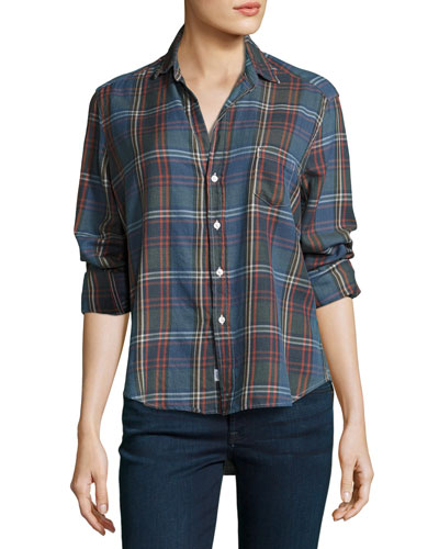 Eileen Large-Check Button-Front Shirt, Sky Blue/Navy