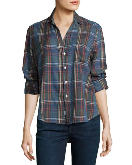 Frank & Eileen Eileen Large-Check Button-Front Shirt, Sky