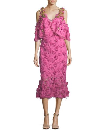 Lapenna 3D Floral Lace Cold-Shoulder Cocktail Dress