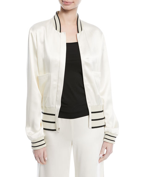 Toril Zip-Front Silk Bomber Jacket