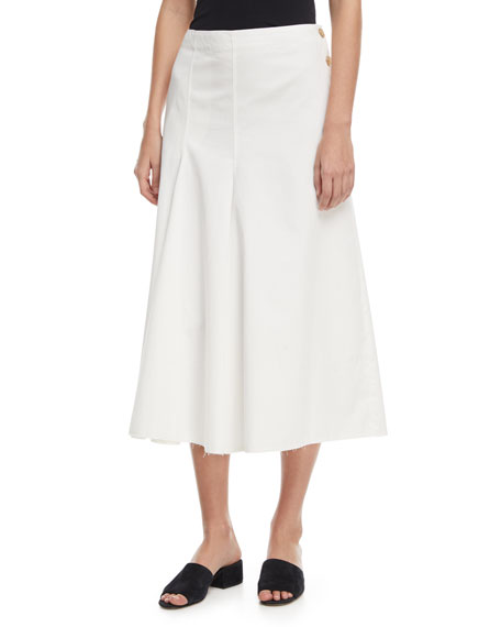 Joseph Smith Side-Button A-line Chino Skirt