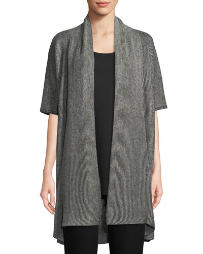 Rib-Knit Linen Open-Front Cardigan