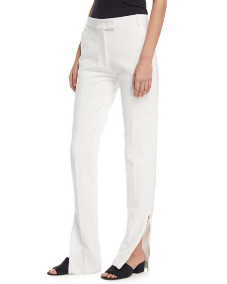 Reeve Zip-Cuff Flare Crepe Pants