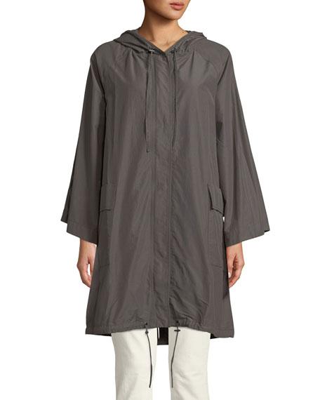 Hooded Organic Cotton/Nylon Anorak Jacket, Petite