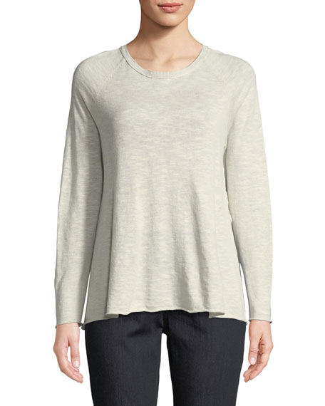 Eileen Fisher Organic Linen-Blend Side-Slit Top