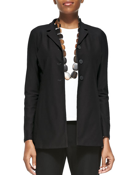 Eileen Fisher Washable-Crepe Long Jacket, Plus Size