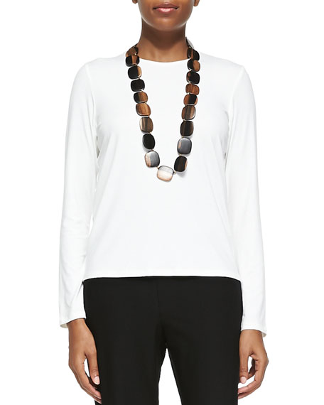 Eileen Fisher Long-Sleeve Silk Crewneck Tee, White, Plus