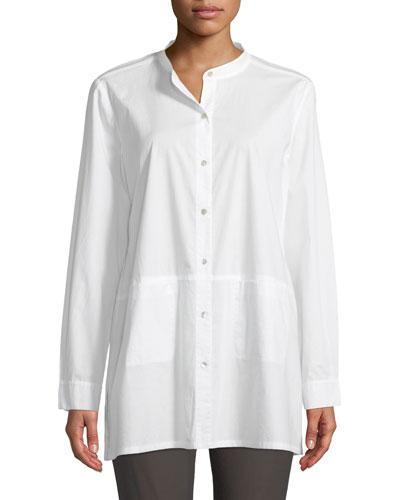 Band-Collar Cotton-Lawn Shirt