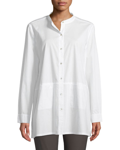 Eileen Fisher Band-Collar Cotton-Lawn Shirt