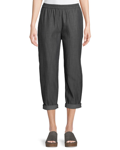 Eileen Fisher Denim Tapered-Leg Cropped Pants, Plus Size