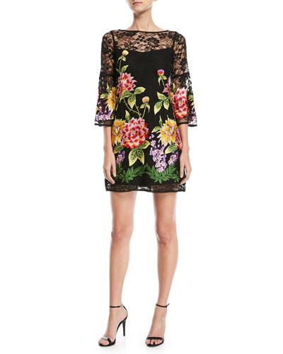 Fiesta Lace-Yoke Mini Dress