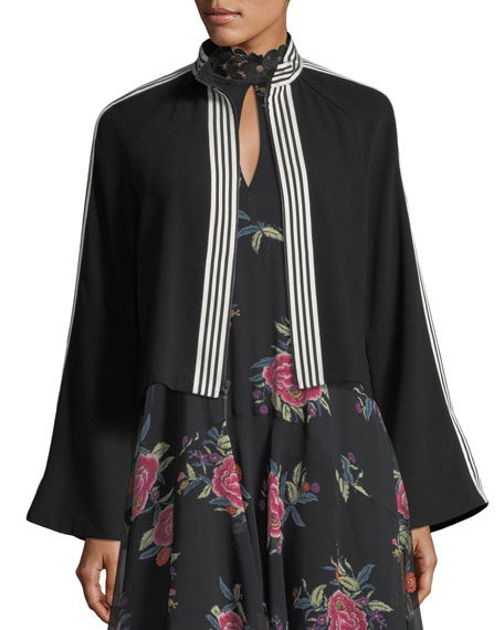 Nanette Lepore La Rosa Ruffled Silk Keyhole Dress