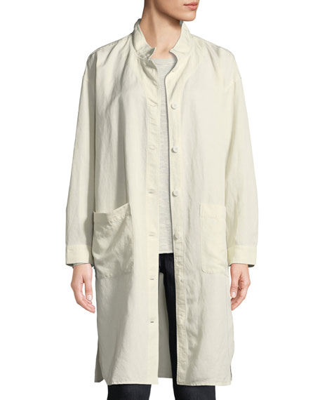 Eileen Fisher Knee-Length Stand-Collar Jacket, Petite