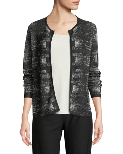 Graphic-Knit Linen-Blend Cardigan