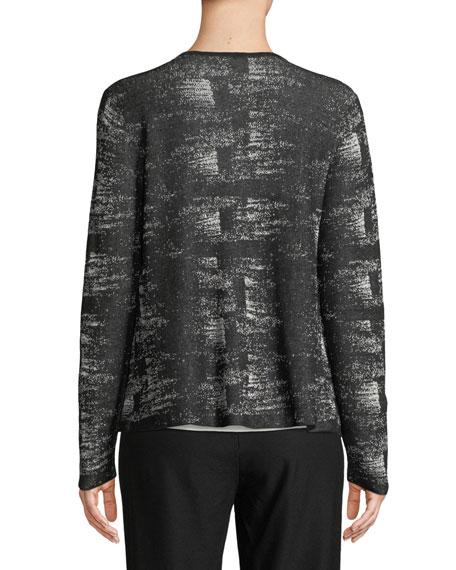 Graphic-Knit Linen-Blend Cardigan, Petite