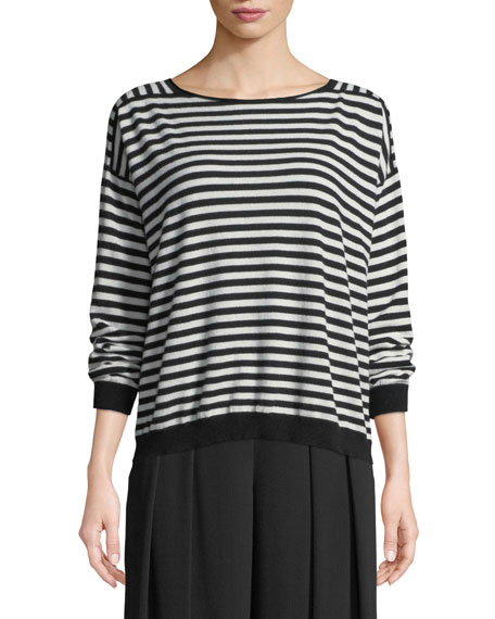 Eileen Fisher Seamless Seasonless Striped Italian Cashmere Top